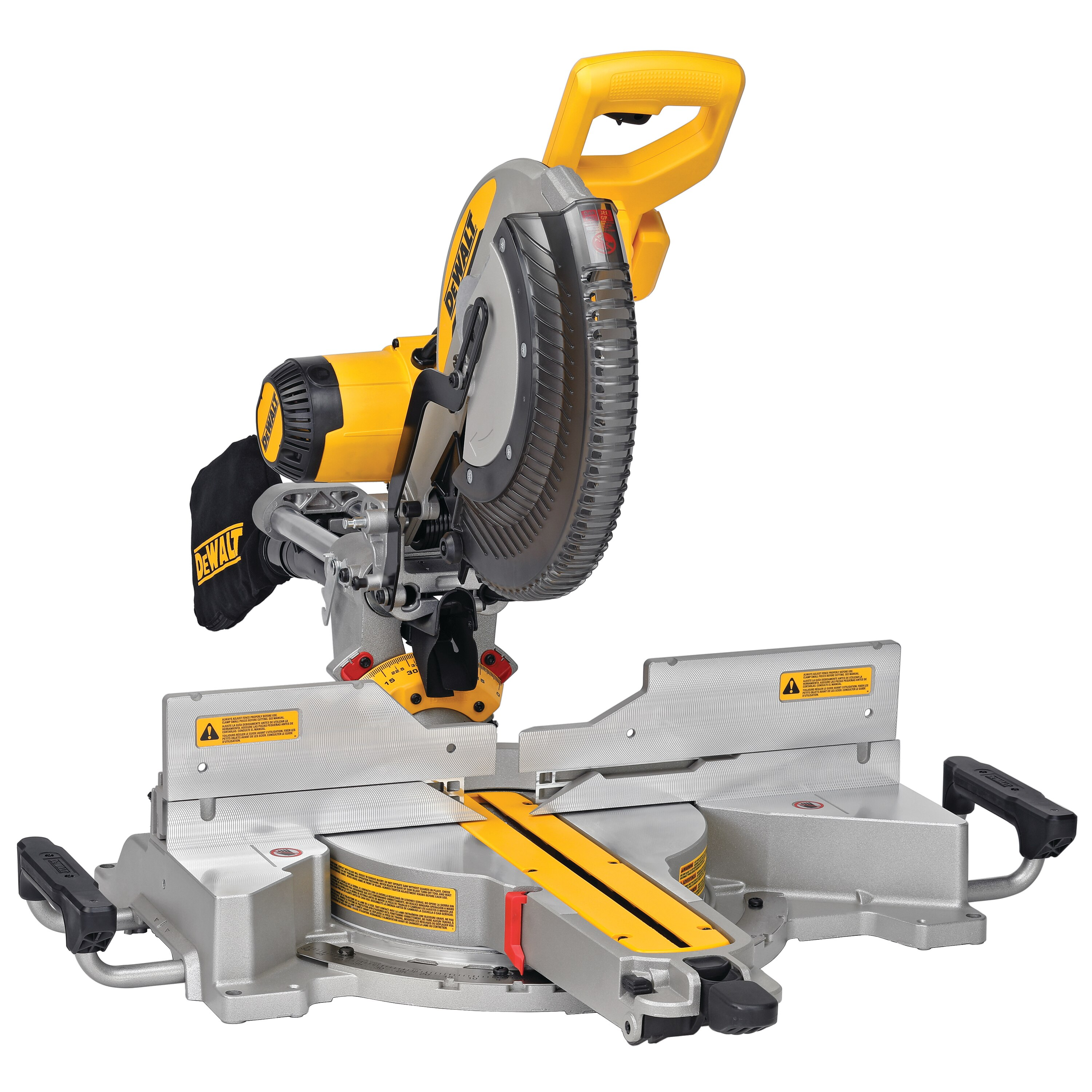 Isometric view of 12 inch compound mitre saw